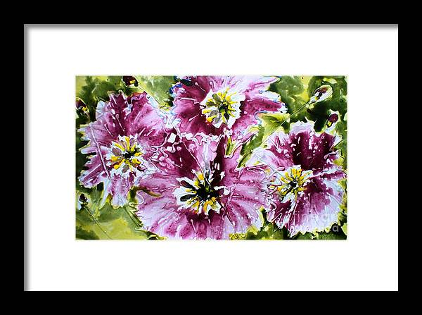 Flowers Framed Print featuring the painting Heavenly Flowers by Baljit Chadha