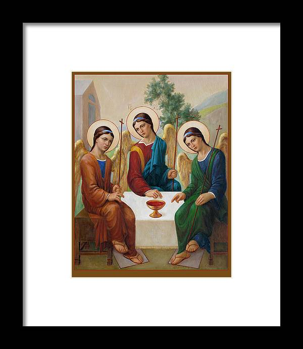 Communion Framed Print featuring the painting Holy Trinity - Sanctae Trinitatis by Svitozar Nenyuk