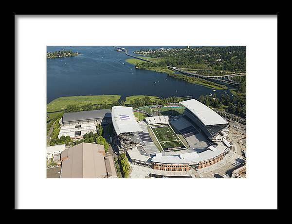 America Framed Print featuring the photograph Husky Stadium At The University by Andrew Buchanan/SLP