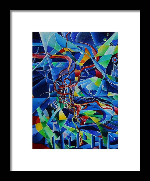 Johann Sebastian Bach Toccata And Fugue D Minor Acrylics Abstract Music Pens Gems Framed Print featuring the painting Inside The Cathedral by Wolfgang Schweizer