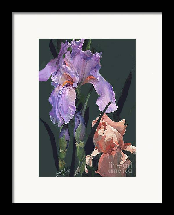 Flowers Framed Print featuring the painting Iris Study by Suzanne Schaefer