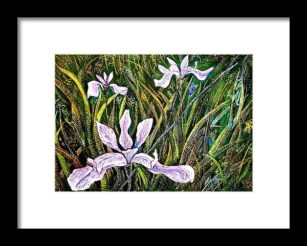 Insectes Framed Print featuring the painting Irises and Grasshopper by ITI Ion Vincent Danu