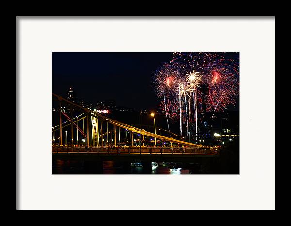 Pittsburgh Framed Print featuring the photograph July 4th Fireworks In Pittsburgh by Jetson Nguyen