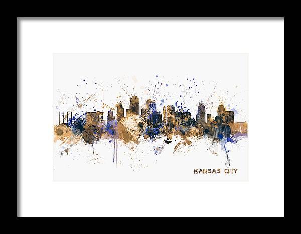 United States Framed Print featuring the digital art Kansas City Skyline by Michael Tompsett