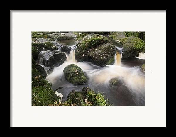Landscape Framed Print featuring the photograph Landscape Of Becky Falls Waterfall In Dartmoor National Park Eng by Matthew Gibson
