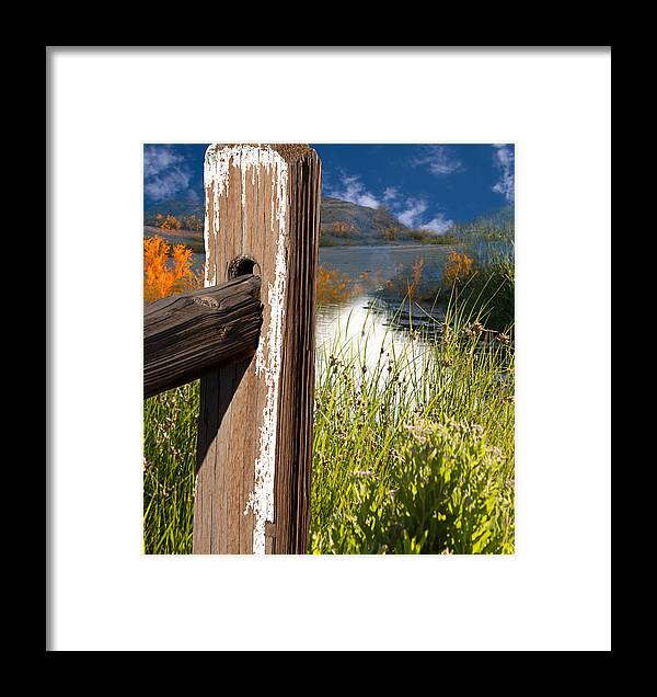 Agriculture Framed Print featuring the photograph Landscape With Fence Pole by Gunter Nezhoda