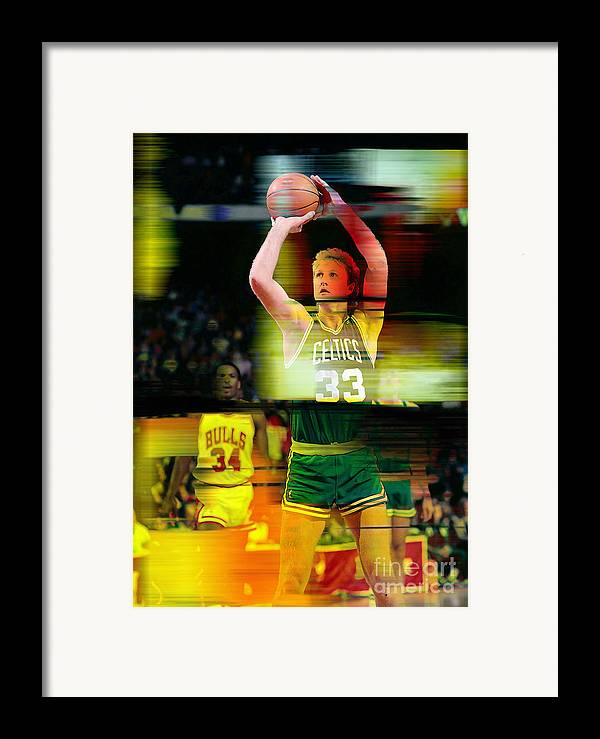 Bird Paintings Framed Print featuring the mixed media Larry Bird by Marvin Blaine