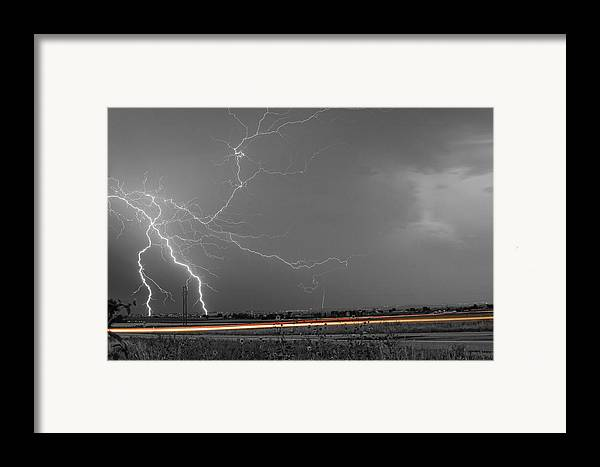 Lightning Framed Print featuring the photograph Lightning Thunderstorm Dragon by James BO Insogna
