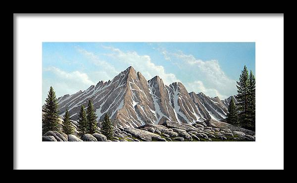 Landscape Framed Print featuring the painting Lofty Peaks by Frank Wilson