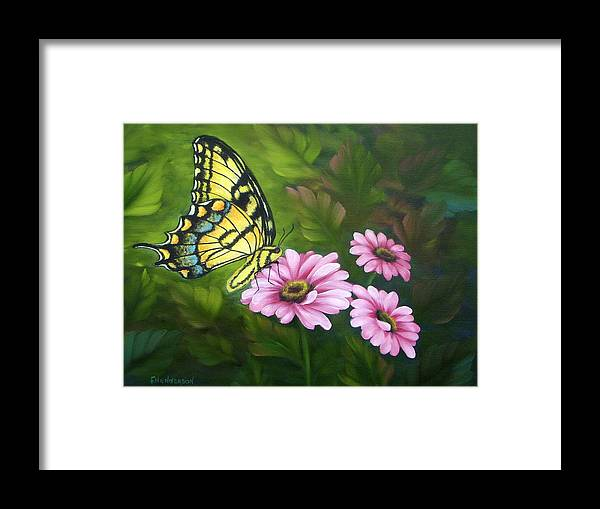 Tiger Swallowtail Butterfly Framed Print featuring the painting Lunch In The Garden by Francine Henderson
