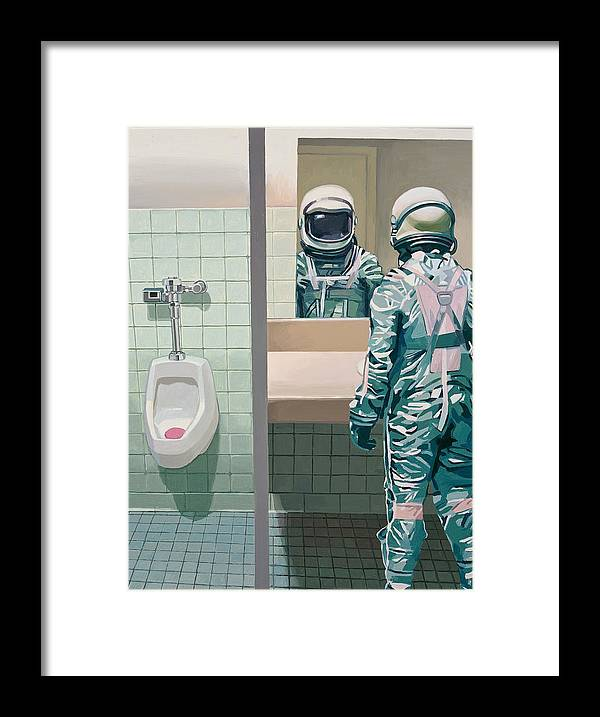 Astronaut Framed Print featuring the painting Men's Room by Scott Listfield