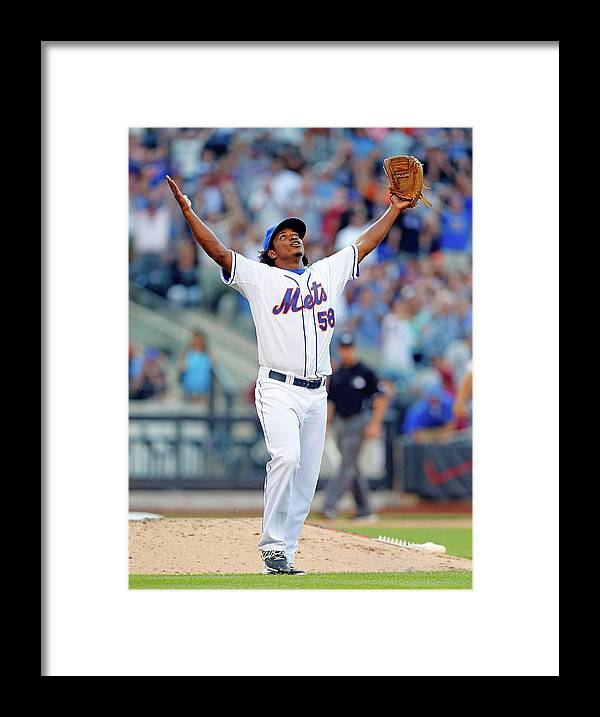 Celebration Framed Print featuring the photograph Miami Marlins V New York Mets by Jim Mcisaac