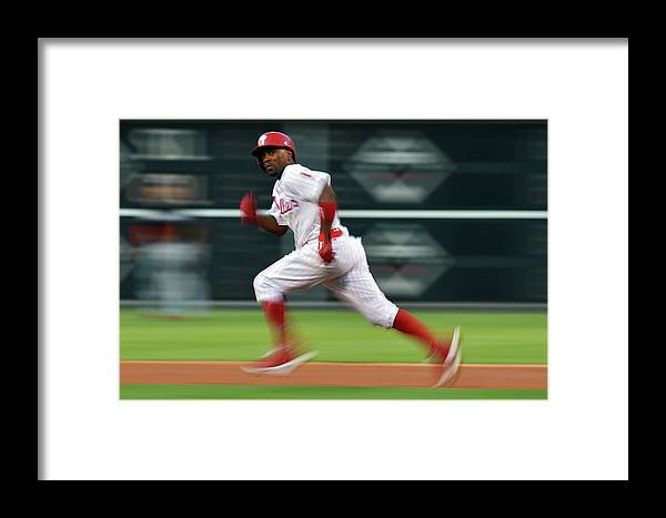 2nd Base Framed Print featuring the photograph Miami Marlins V Philadelphia Phillies 2 by Drew Hallowell