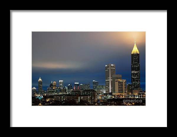 Bank Of America Framed Print featuring the photograph Midtown Atlanta Skyline At Dusk by Bill Cobb