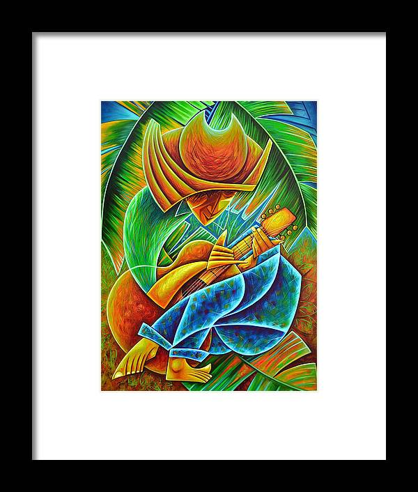 Framed Print featuring the painting Minstrel by Javier Martinez