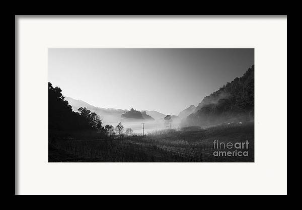 B&w Framed Print featuring the photograph Mist In The Valley by Setsiri Silapasuwanchai