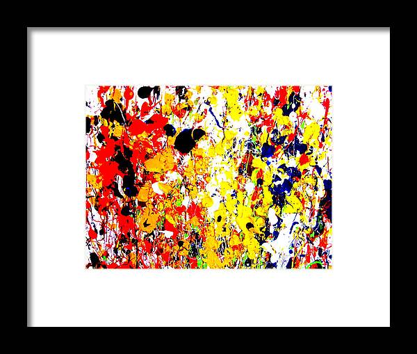 Art Framed Print featuring the painting Modern Abstract Painting Original Canvas Art Wild By Zee Clark by Zee Clark