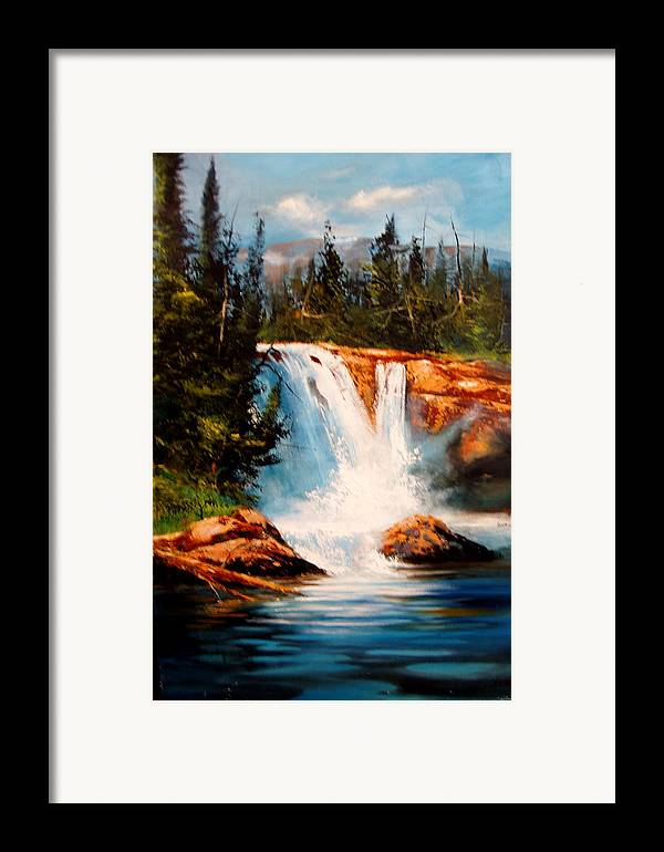 Landscape Framed Print featuring the painting Mountain Falls by Robert Carver