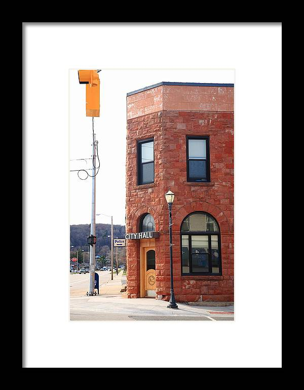 America Framed Print featuring the photograph Munising Michigan - City Hall by Frank Romeo