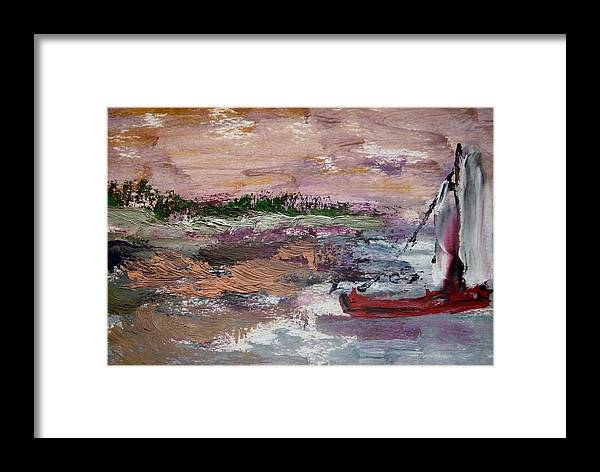 Sail Framed Print featuring the painting Near Shore by Edward Wolverton