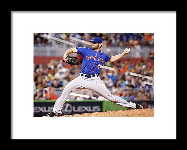 Second Inning Framed Print featuring the photograph New York Mets V Miami Marlins by Rob Foldy