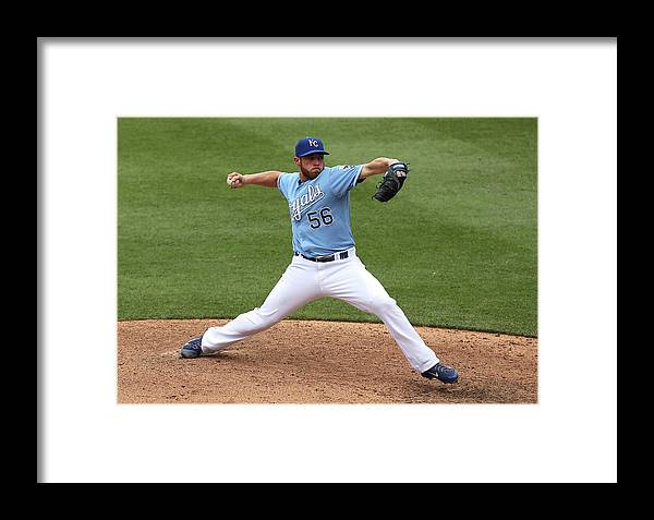 Ninth Inning Framed Print featuring the photograph New York Yankees V Kansas City Royals 2 by Ed Zurga