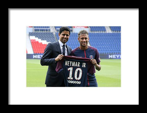 Following Framed Print featuring the photograph Neymar Signs For PSG by Jean Catuffe