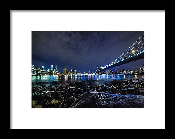 New York Framed Print featuring the photograph Night View To Manhattan by Alex Potemkin