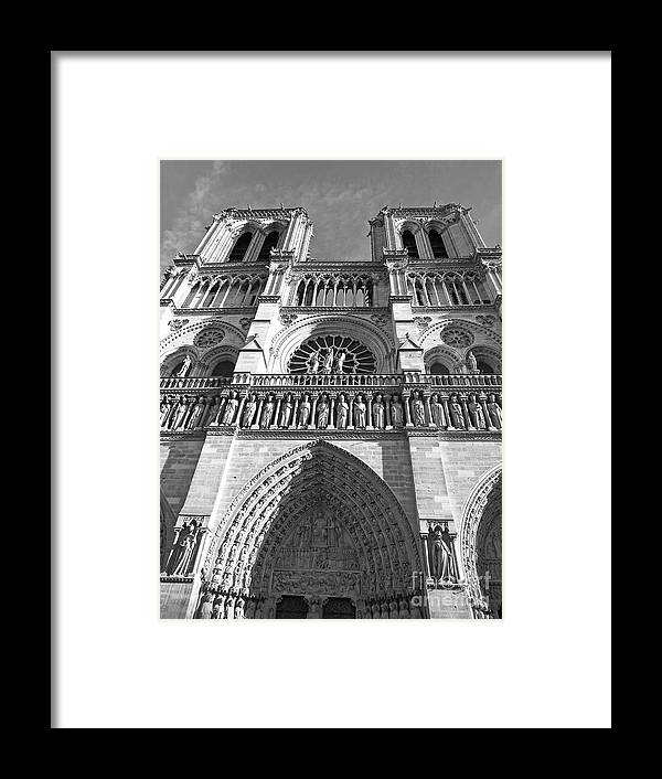 Black And White Framed Print featuring the photograph Notre Dame by Alex Cassels