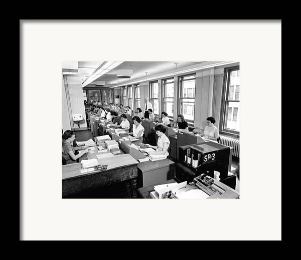 1035-287 Framed Print featuring the photograph Office Workers Entering Data by Underwood Archives