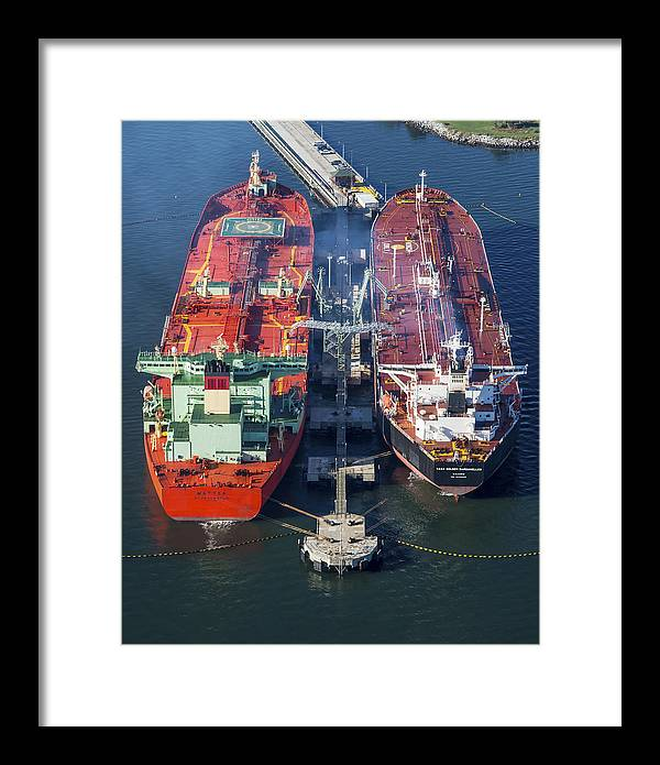 America Framed Print featuring the photograph Oil Tankers Docked At Oil Pier, Down by Dave Cleaveland