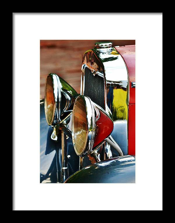 Close Up; Decorative; Red; Oldtimer; Car; Detail; Chrome; Weels; Sign; Silver; Background; Parts; White; South Africa; Framed Print featuring the photograph Oldtimer by Werner Lehmann