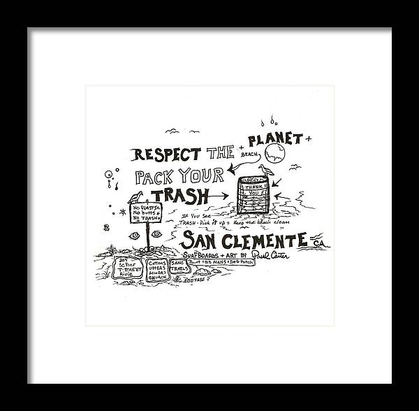 Packyourtrashdrawing Framed Print featuring the drawing Pack Your Trash 3 by Paul Carter