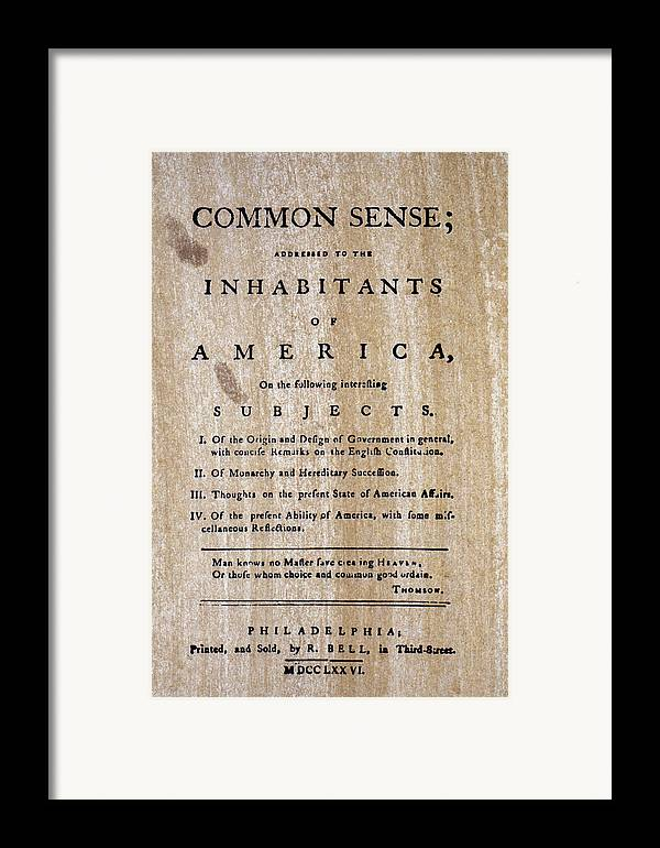 1776 Framed Print featuring the photograph Paine: Common Sense, 1776 by Granger