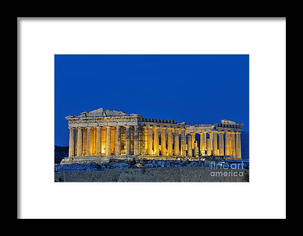 Acropolis; Acropoli; Akropoli; Akropolis; Parthenon; Monument; Athens; City; Capital; Attica; Attika; Attiki; Greece; Hellas; Greek; Hellenic; Europe; European; Temple; Ancient; Dusk; Twilight; Evening; Night; Lights; Holidays; Vacation; Travel; Trip; Voyage; Journey; Tourism; Touristic; Summer Framed Print featuring the photograph Parthenon In Acropolis Of Athens During Dusk Time by George Atsametakis