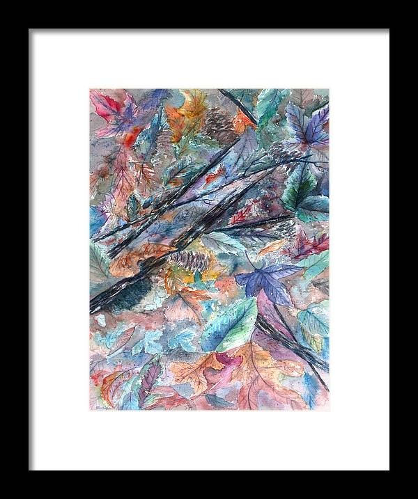Pine Cones Framed Print featuring the painting Pattern of Leaves by Ben Kiger