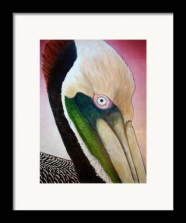 Pelican Framed Print featuring the painting Pelican Peeking by Scott Plaster