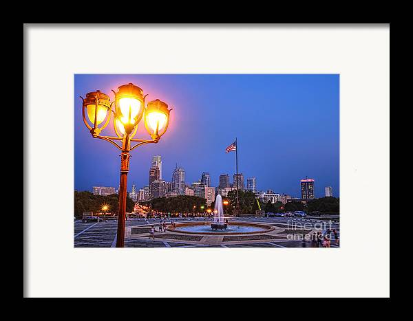 Philadelphia Framed Print featuring the photograph Philadelphia At Dusk by Olivier Le Queinec
