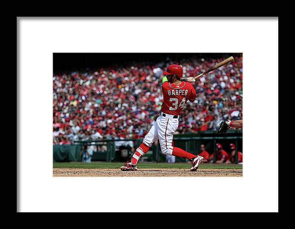 People Framed Print featuring the photograph Philadelphia Phillies V Washington 2 by Patrick Smith