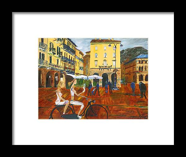 Italy Framed Print featuring the painting Piazza De Como by Gregory Allen Page
