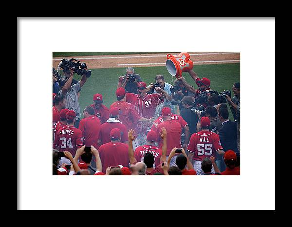 People Framed Print featuring the photograph Pittsburgh Pirates V Washington 2 by Rob Carr