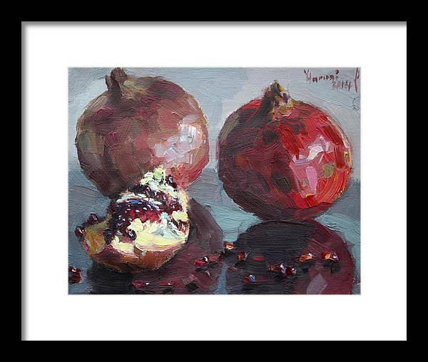 Pomegranates Framed Print featuring the painting Pomegranates 2 by Ylli Haruni