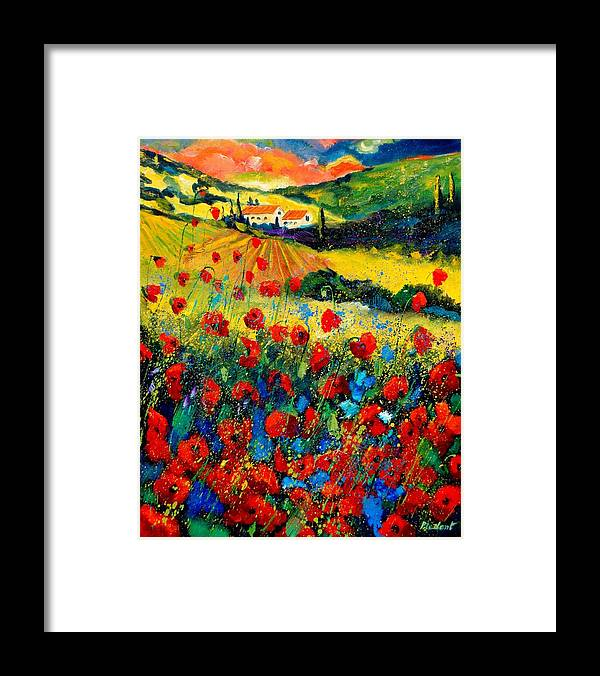 Flowersn Landscape Framed Print featuring the painting Poppies in Tuscany by Pol Ledent