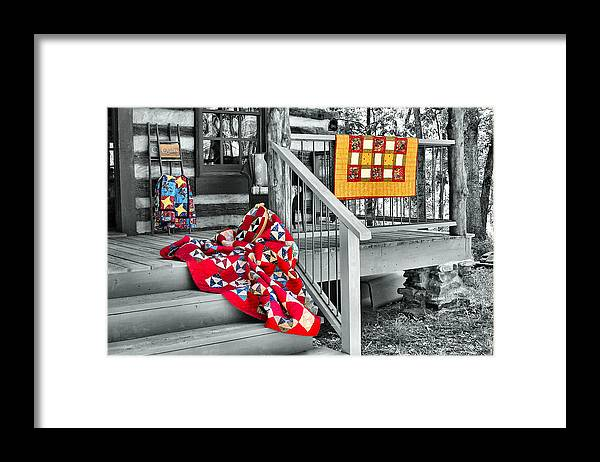Quilt Framed Print featuring the photograph Porch of Many Colors by Nadine Lewis