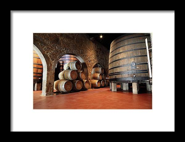 Fermenting Framed Print featuring the photograph Porto Wine Cellar by Vuk8691