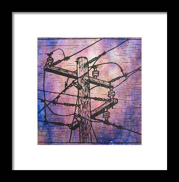 Power Framed Print featuring the drawing Power Lines by William Cauthern