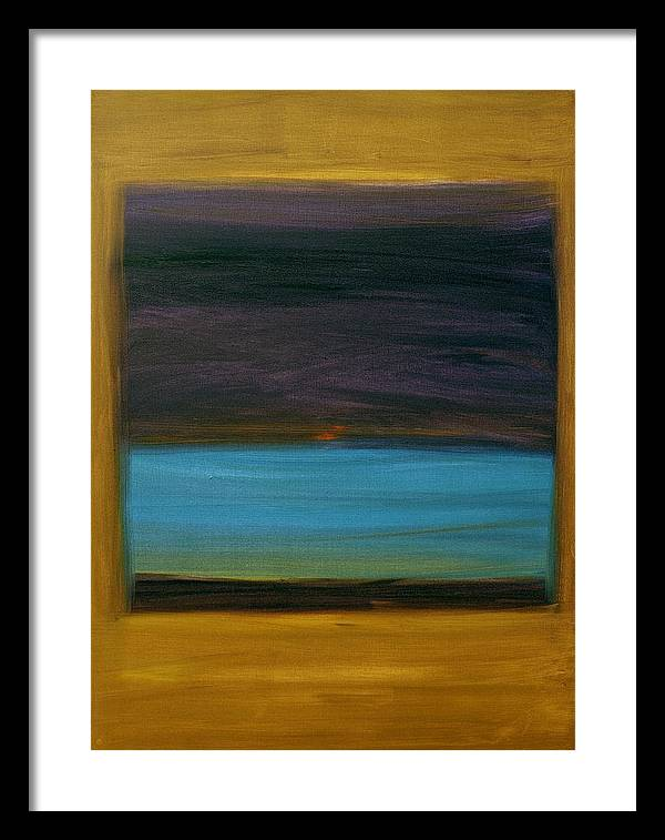Dzigar Kongtrul Rinpoche Framed Print featuring the painting Purple And Turquoise In Yellow by Kongtrul Jigme Namgyel