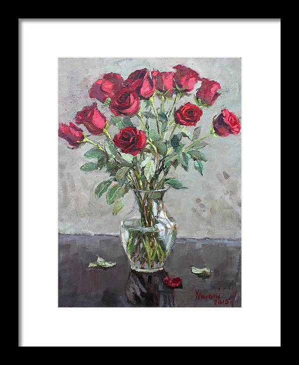 Red Roses Framed Print featuring the painting Red Roses by Ylli Haruni