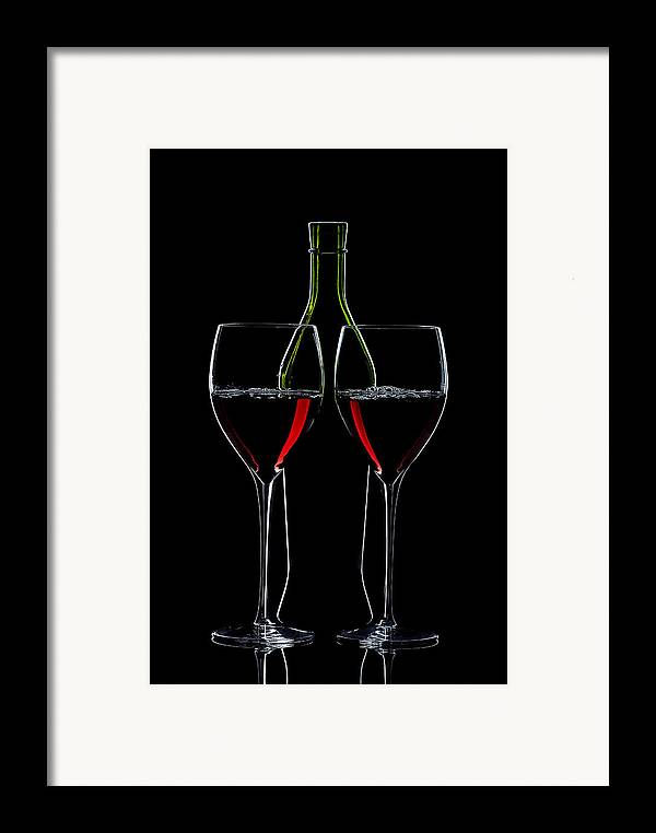 Wine Framed Print featuring the photograph Red Wine Bottle And Wineglasses Silhouette by Alex Sukonkin