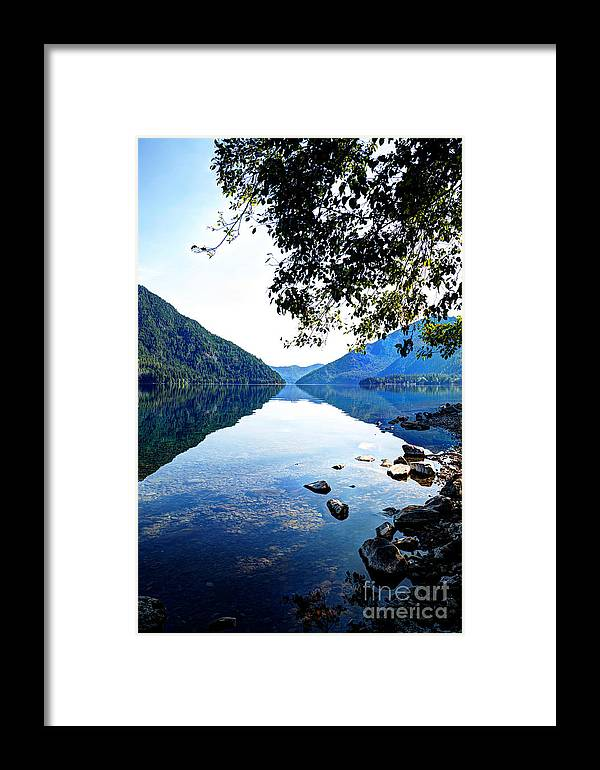 Lake Crescent Framed Print featuring the photograph Reflection On Lake Crescent Vertical by Sarah Schroder
